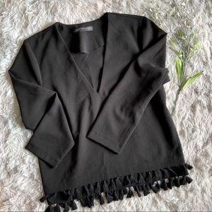 Zara Woman Tassel Fringe Hem Woven Top